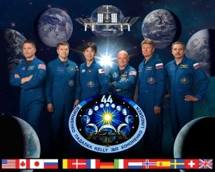 official Expedition 44 crew portrait. Soyuz 42 (Gennady Padalka, Mikhail Kornienko, Scott Kelly) and Soyuz 43 (Oleg Kononenko, Kimiya Yui and Kjell Lindgren).