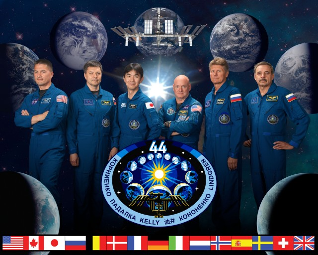official Expedition 44 crew portrait. Soyuz 42 (Gennady Padalka, Mikhail Kornienko, Scott Kelly) and Soyuz 43 (Oleg Kononenko, Kimiya Yui and Kjell Lindgren).