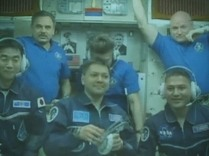 Entire ISS crew after docking.