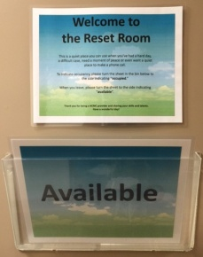 "In the ""reset room"" providers can recharge during the busy workday."